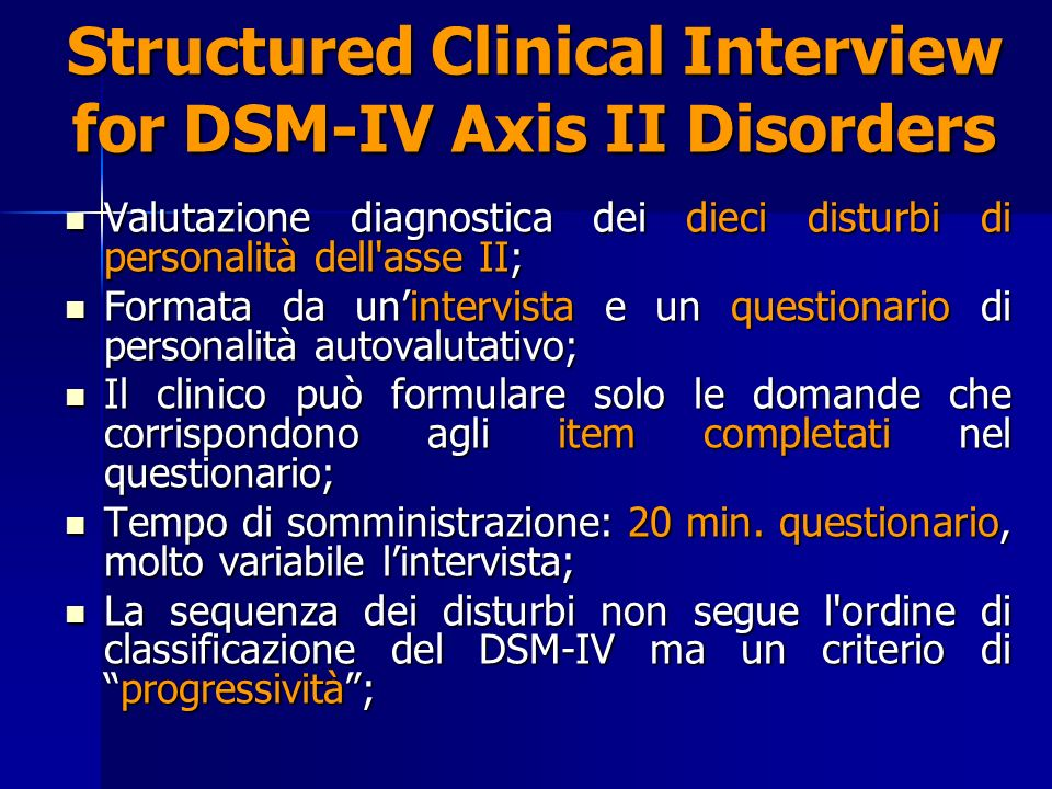 Structured Clinical Interview for DSM-IV Axis II Disorders