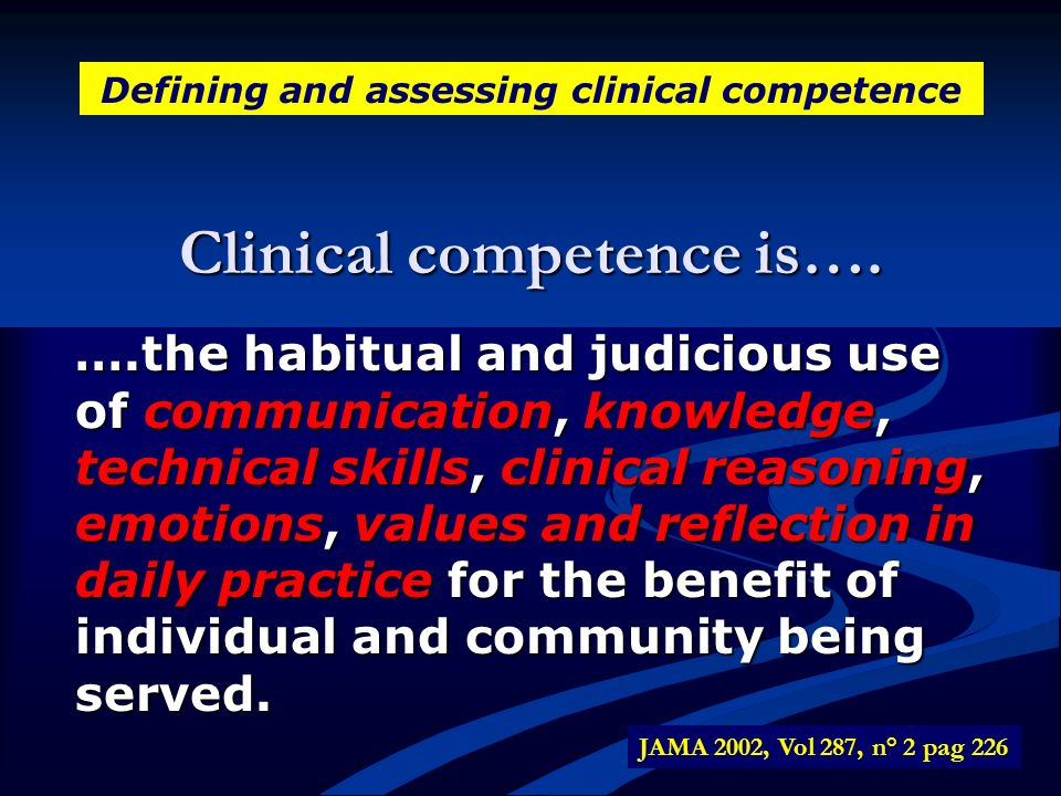 Clinical competence is….