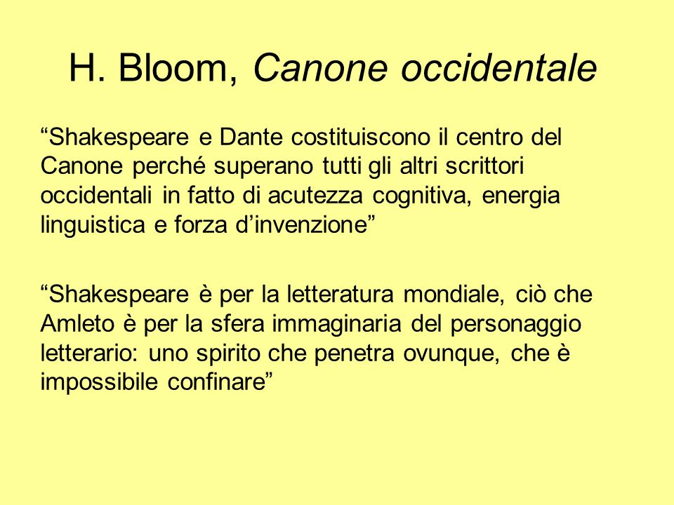 H. Bloom, Canone occidentale