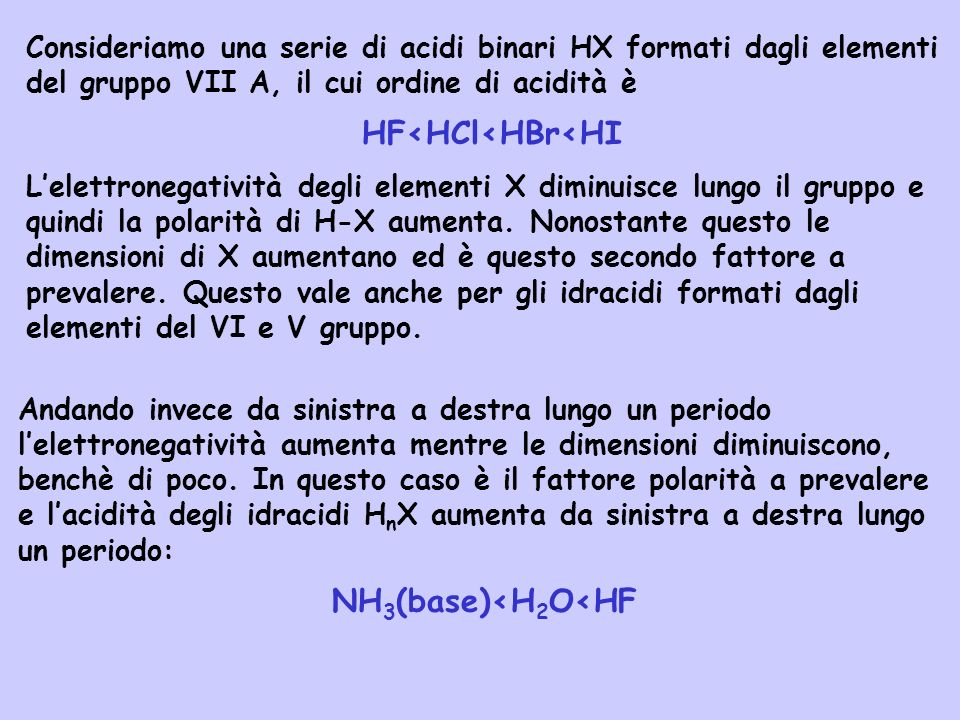 HF<HCl<HBr<HI NH3(base)<H2O<HF