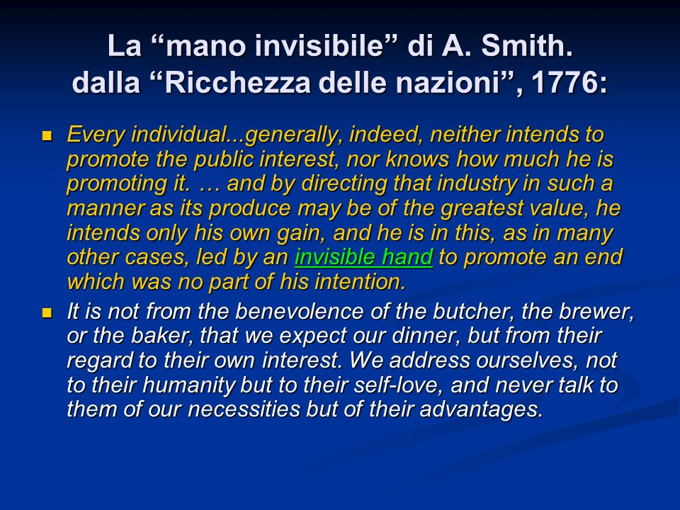 La mano invisibile di A. Smith