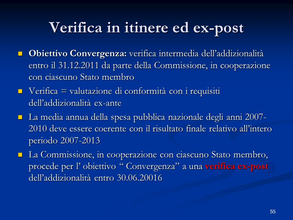 Verifica in itinere ed ex-post