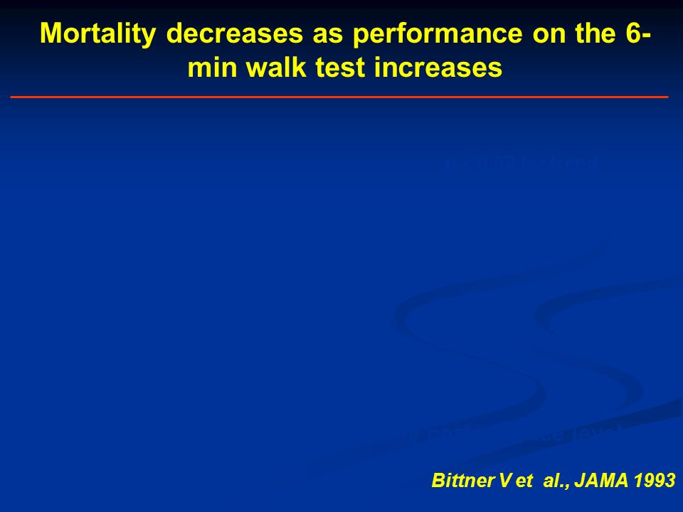 Mortality decreases as performance on the 6-min walk test increases