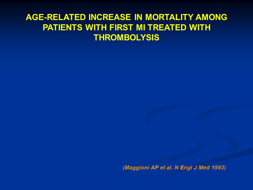 AGE-RELATED INCREASE IN MORTALITY AMONG PATIENTS WITH FIRST MI TREATED WITH THROMBOLYSIS