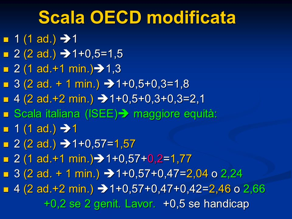 Scala OECD modificata 1 (1 ad.) 1 2 (2 ad.) 1+0,5=1,5