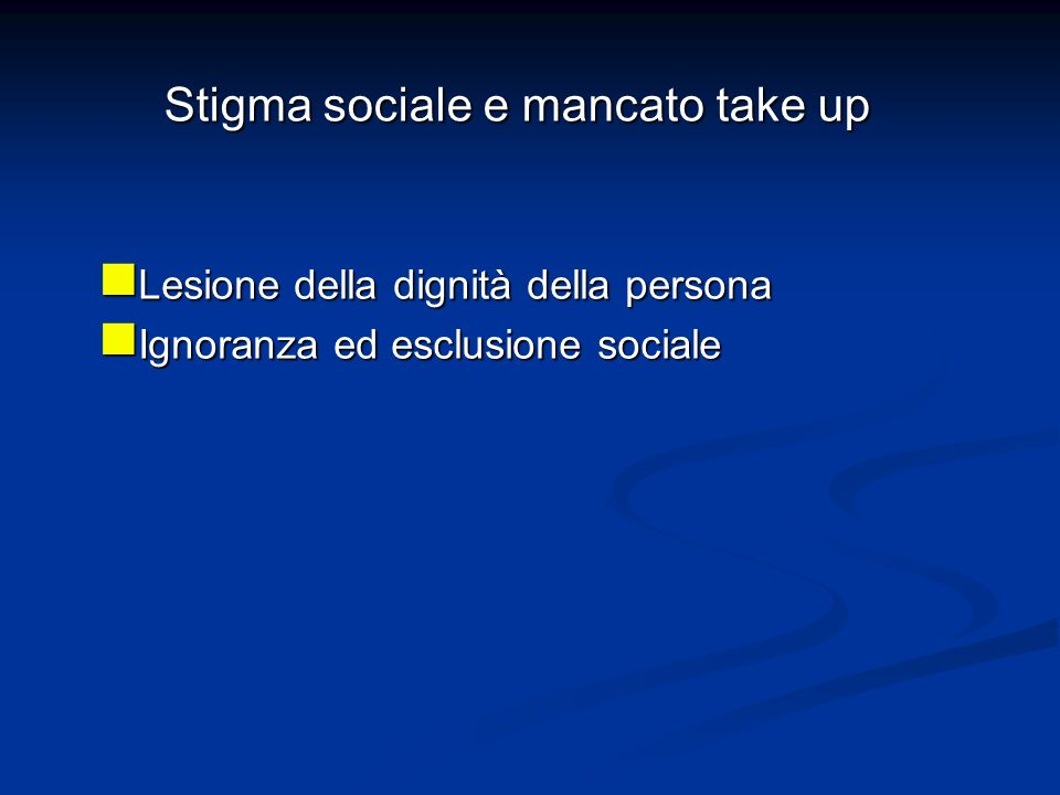 Stigma sociale e mancato take up