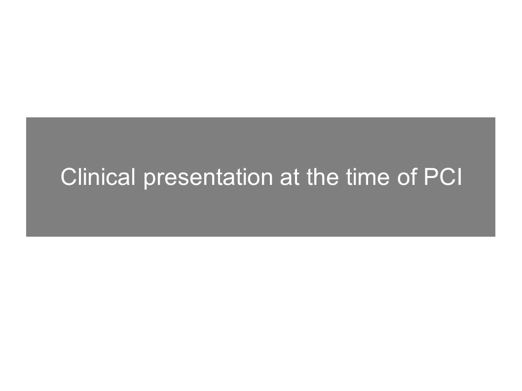 Clinical presentation at the time of PCI