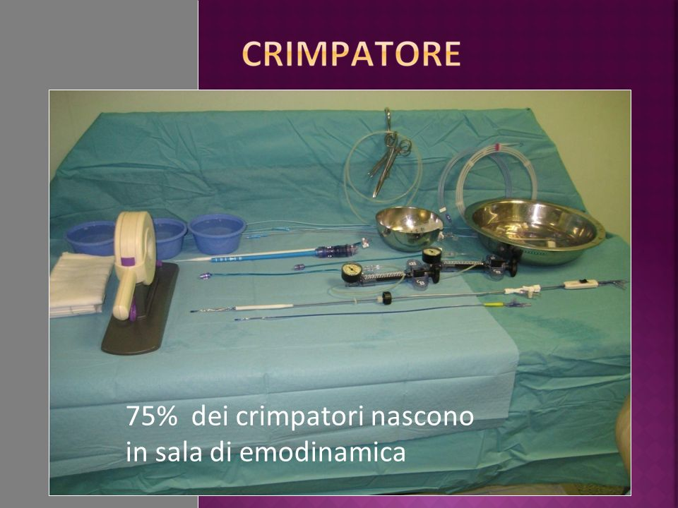 75% dei crimpatori nascono in sala di emodinamica