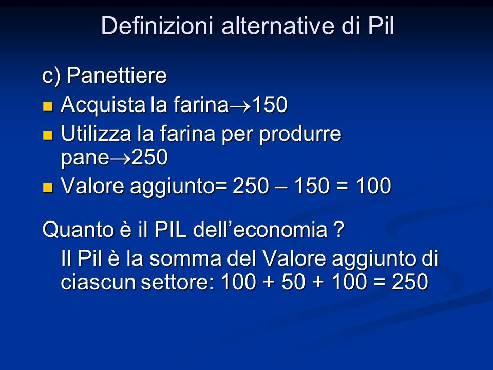 Definizioni alternative di Pil