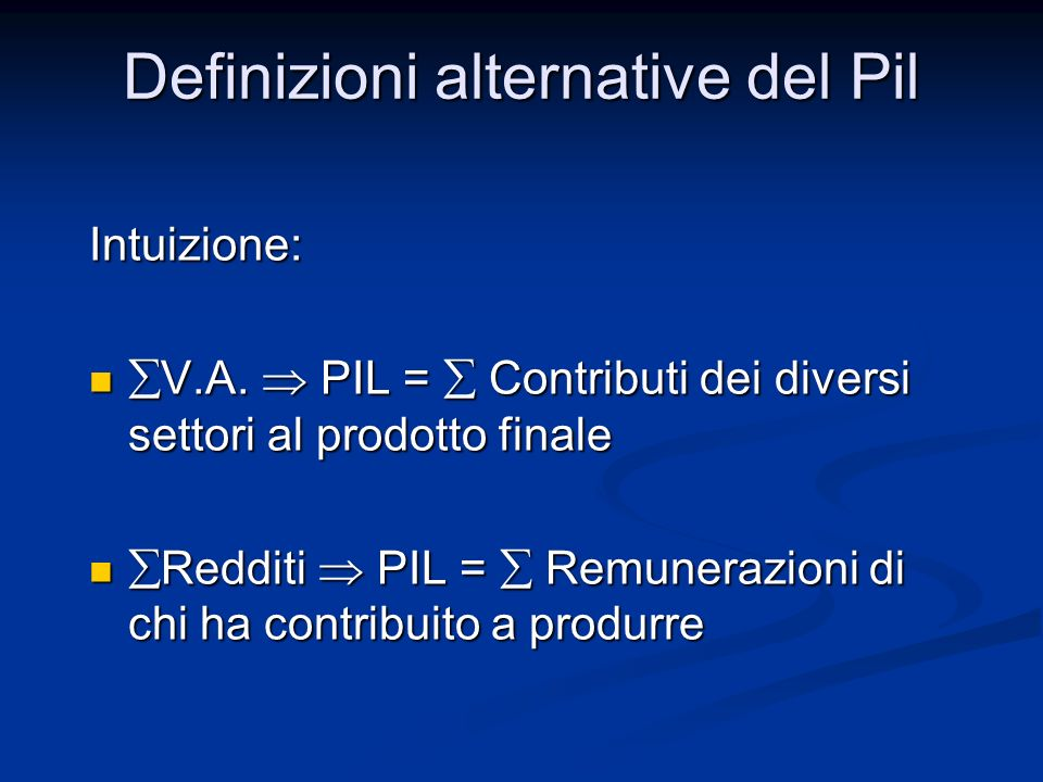 Definizioni alternative del Pil