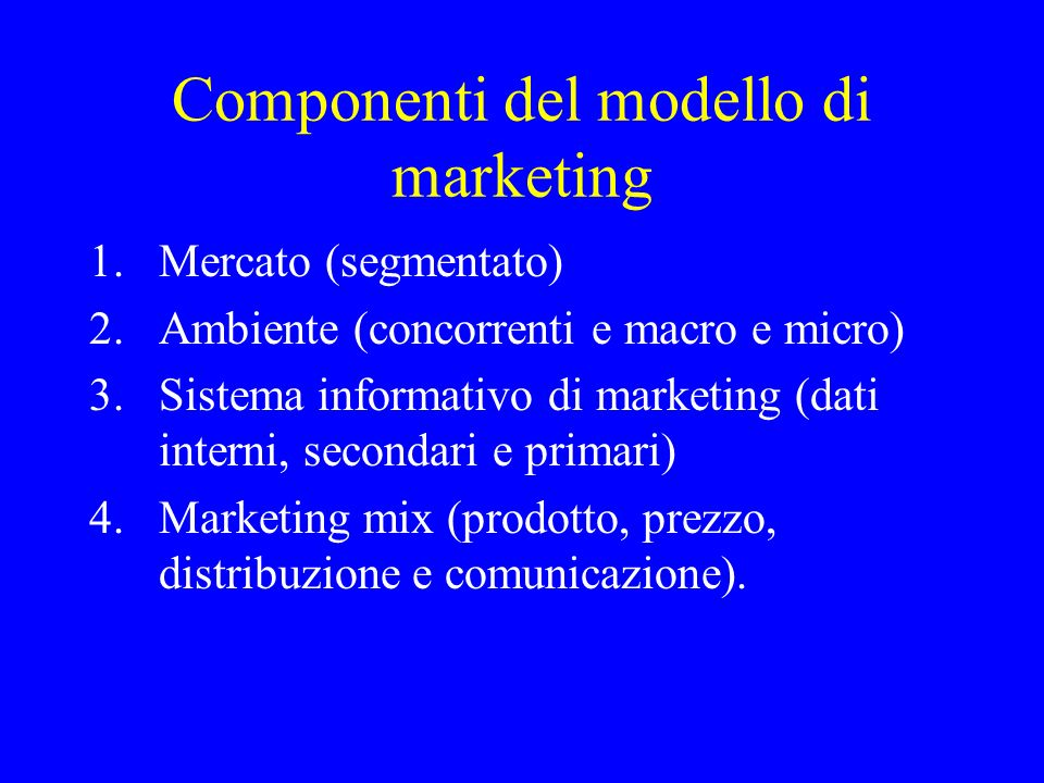 Componenti del modello di marketing