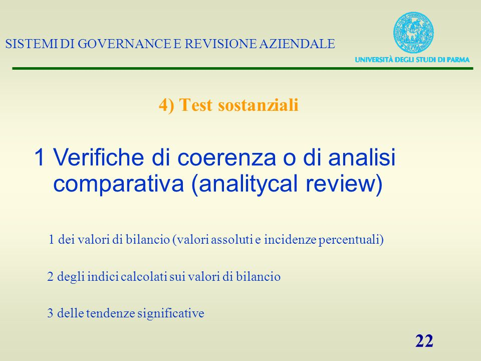 1 Verifiche di coerenza o di analisi comparativa (analitycal review)
