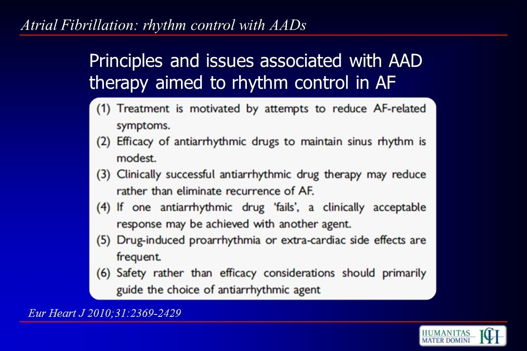 Atrial Fibrillation: rhythm control with AADs