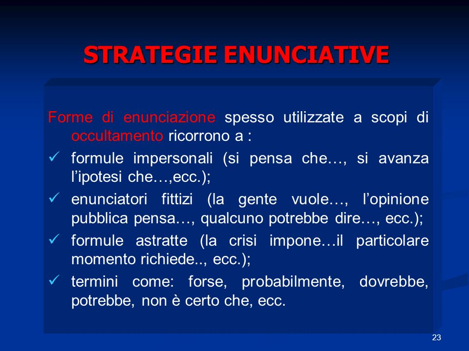 STRATEGIE ENUNCIATIVE