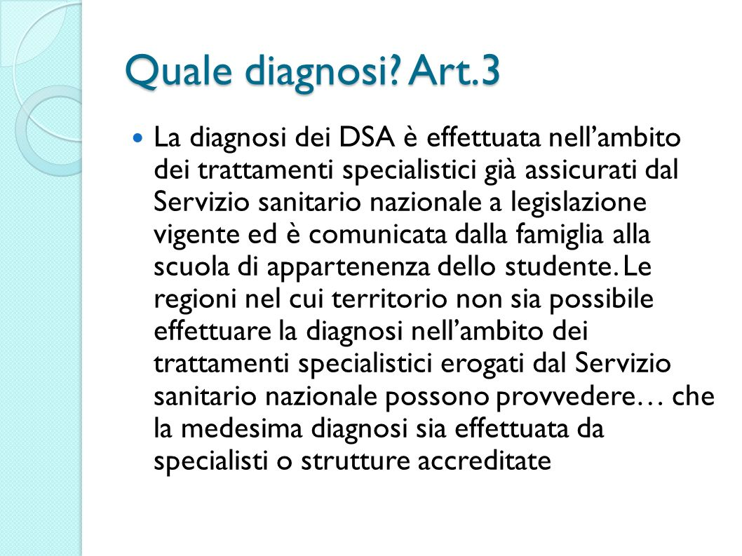 Quale diagnosi Art.3