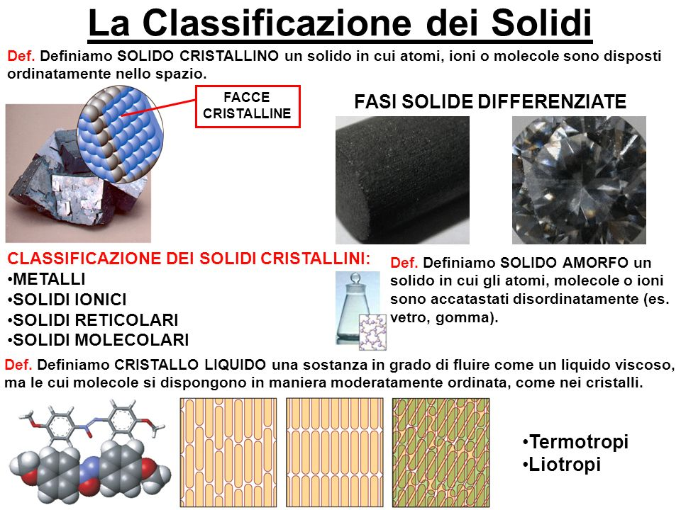 La Classificazione dei Solidi FASI SOLIDE DIFFERENZIATE