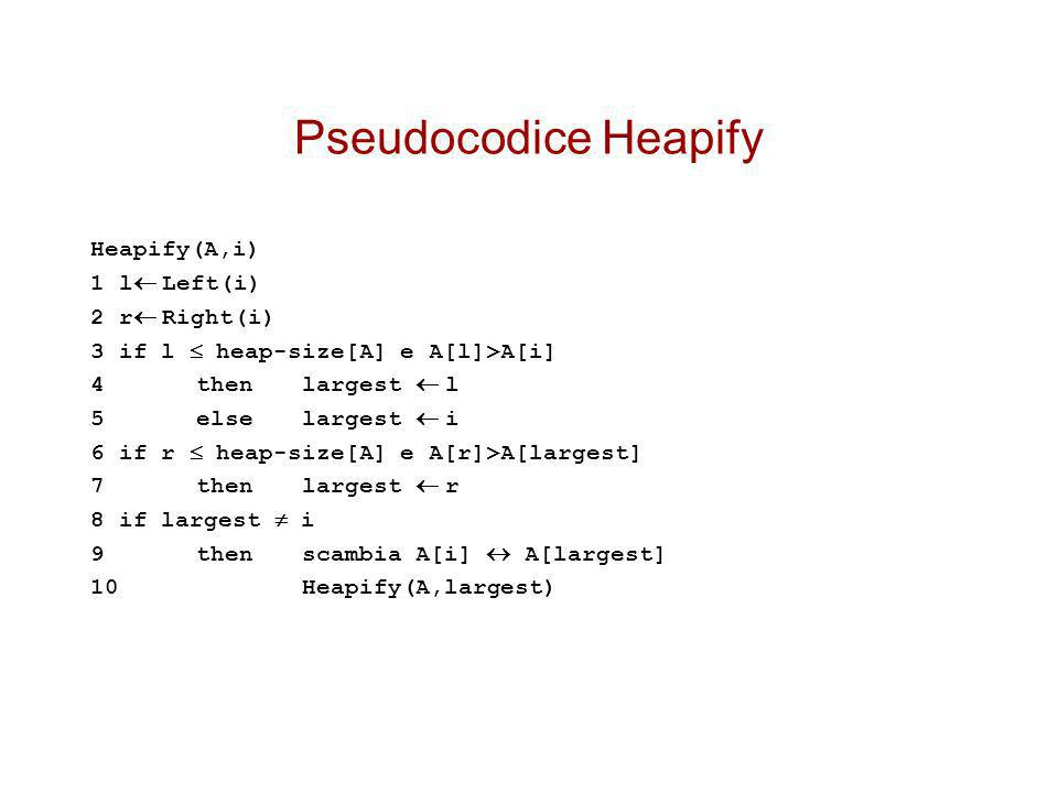 Pseudocodice Heapify Heapify(A,i) 1 l Left(i) 2 r Right(i)