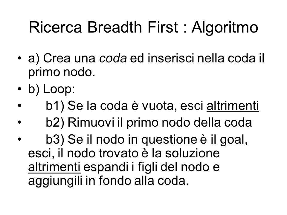 Ricerca Breadth First : Algoritmo