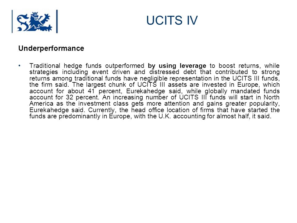 UCITS IV Underperformance