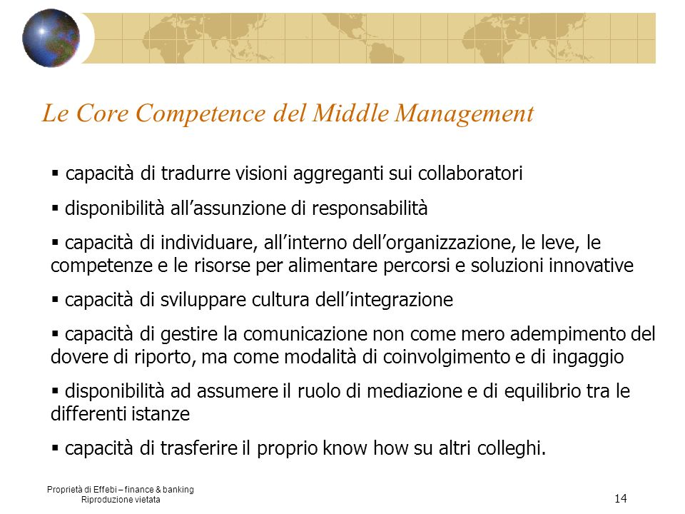 Le Core Competence del Middle Management
