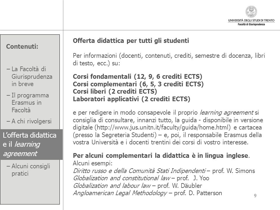 L'offerta didattica e il learning agreement