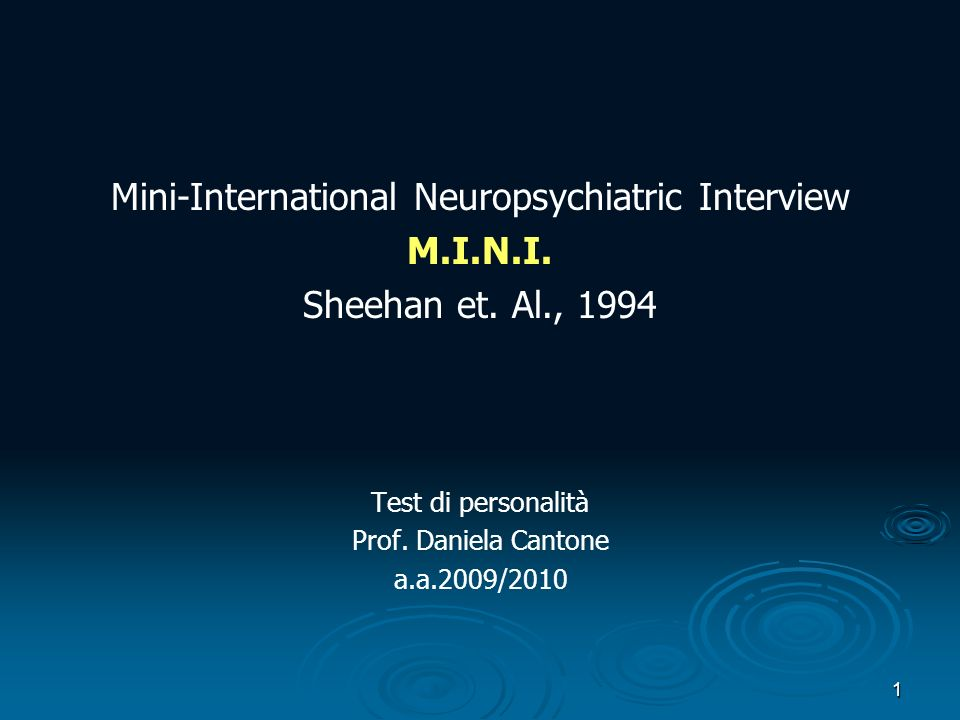Mini-International Neuropsychiatric Interview