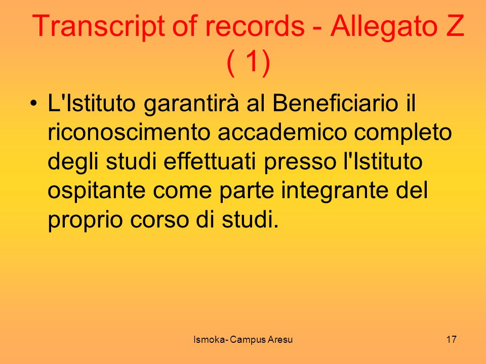 Transcript of records - Allegato Z ( 1)
