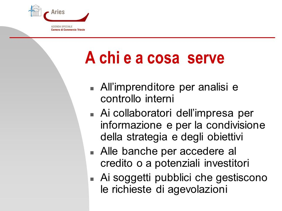 A chi e a cosa serve All'imprenditore per analisi e controllo interni