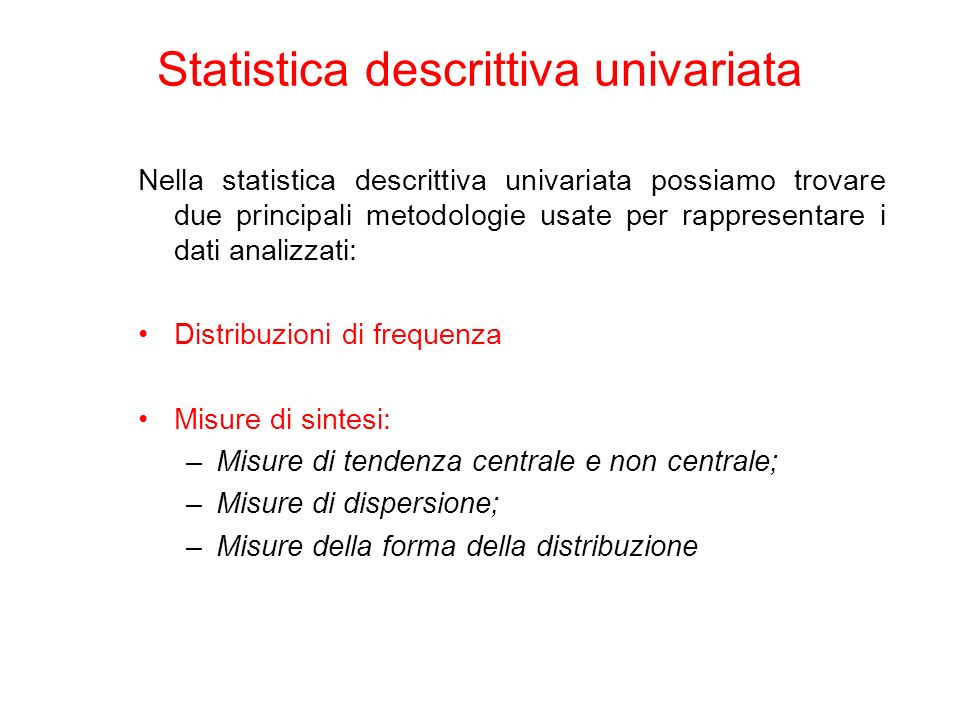 Statistica descrittiva univariata
