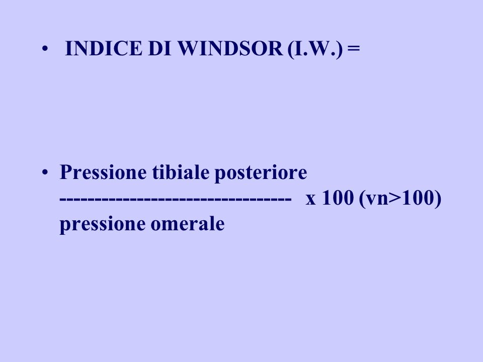 INDICE DI WINDSOR (I.W.) =