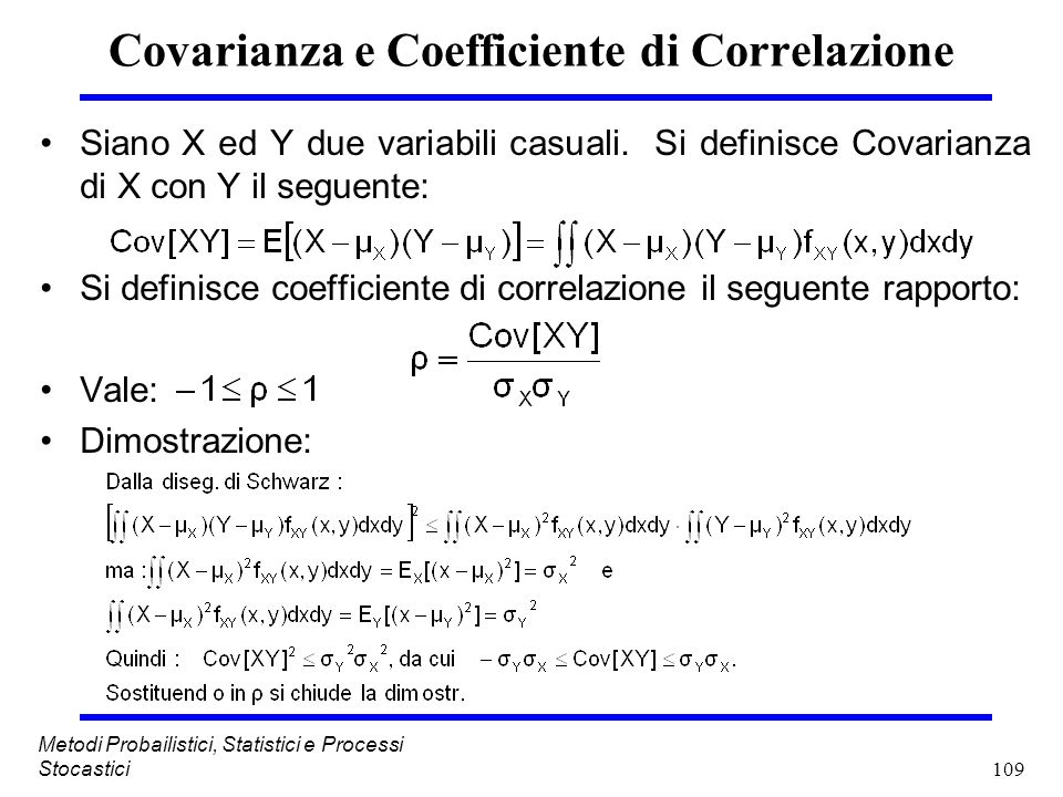 Covarianza e Coefficiente di Correlazione