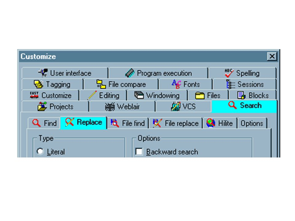 Options dialog from MultiEdit 8