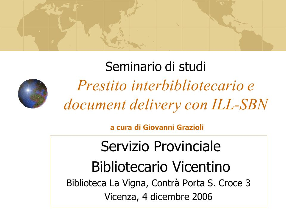 Prestito interbibliotecario e document delivery con ILL-SBN