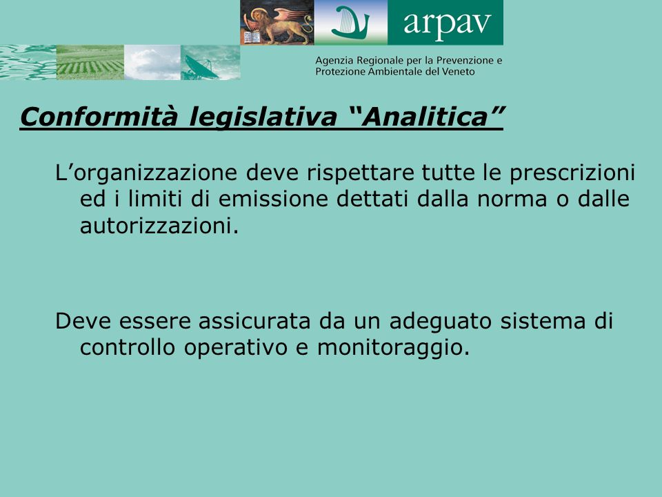 Conformità legislativa Analitica