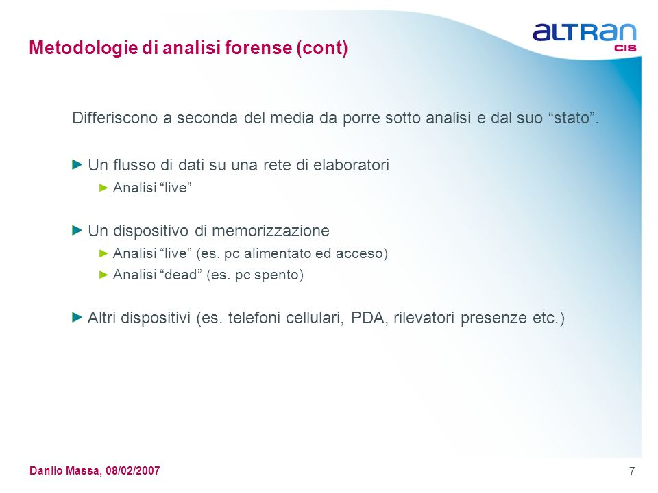 Metodologie di analisi forense (cont)