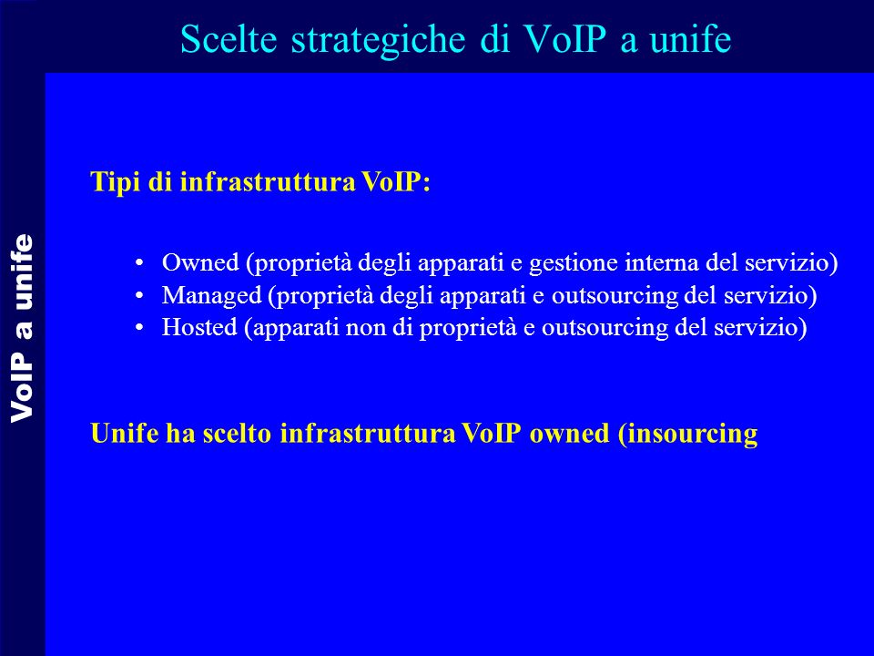 Scelte strategiche di VoIP a unife