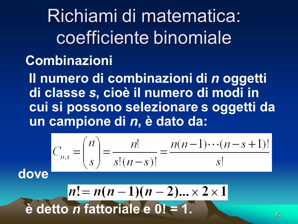 Richiami di matematica: coefficiente binomiale