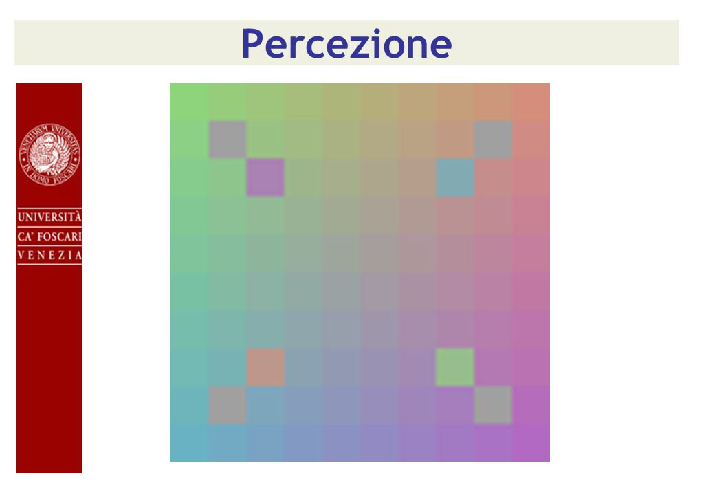Percezione In fact, just rearranging four of the tiles makes the grey tiles look as though they have the same hue.