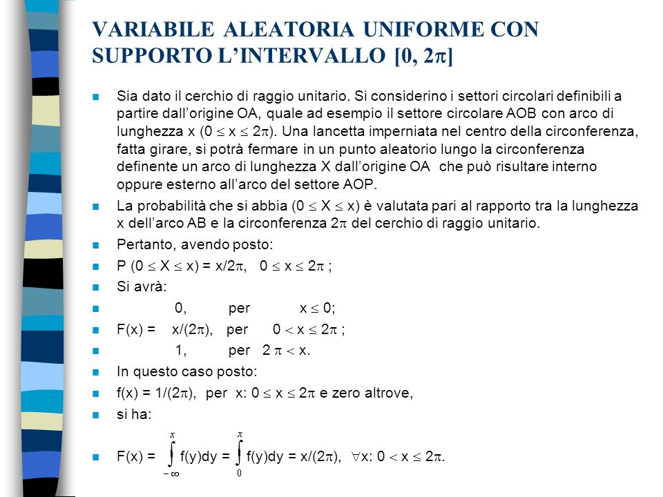 VARIABILE ALEATORIA UNIFORME CON SUPPORTO L'INTERVALLO [0, 2]
