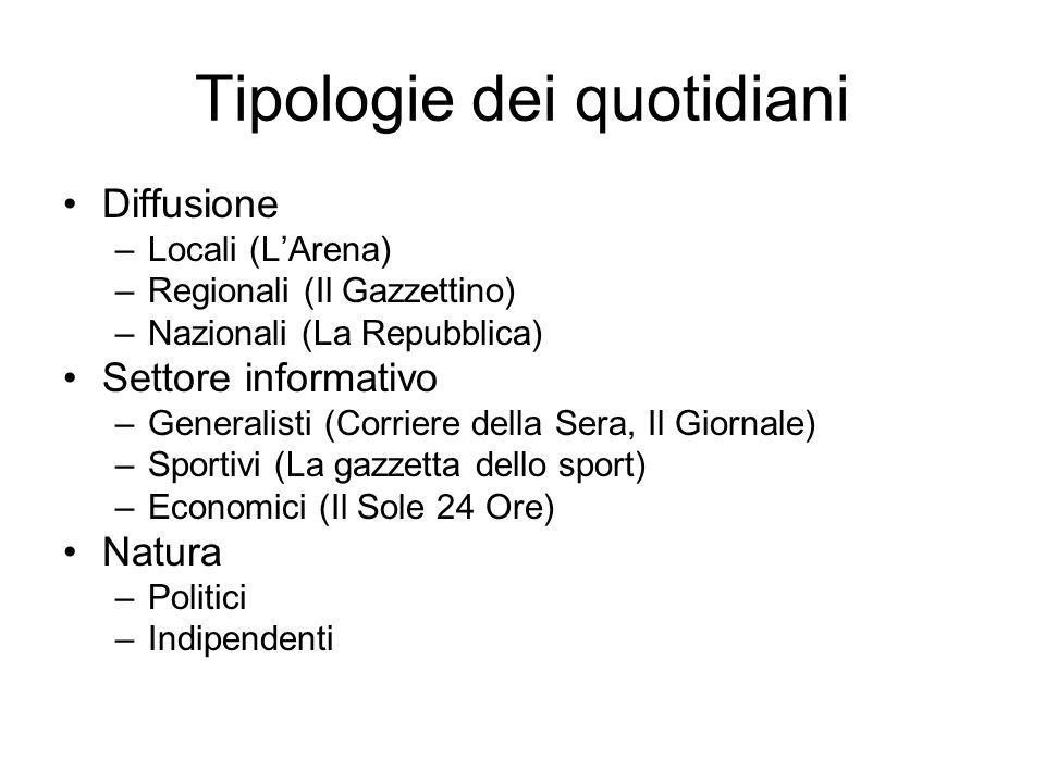 Tipologie dei quotidiani