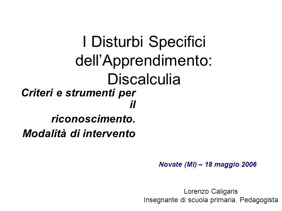 I Disturbi Specifici dell'Apprendimento: Discalculia