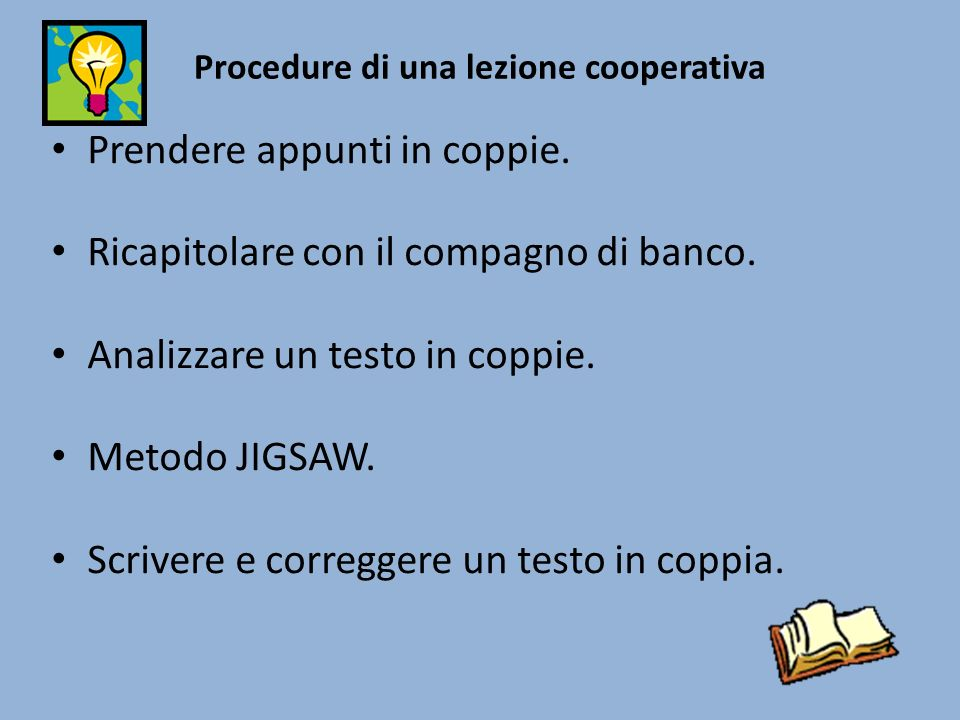 Procedure di una lezione cooperativa