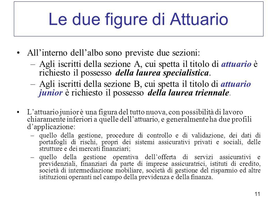 Le due figure di Attuario