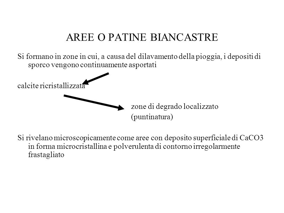 AREE O PATINE BIANCASTRE