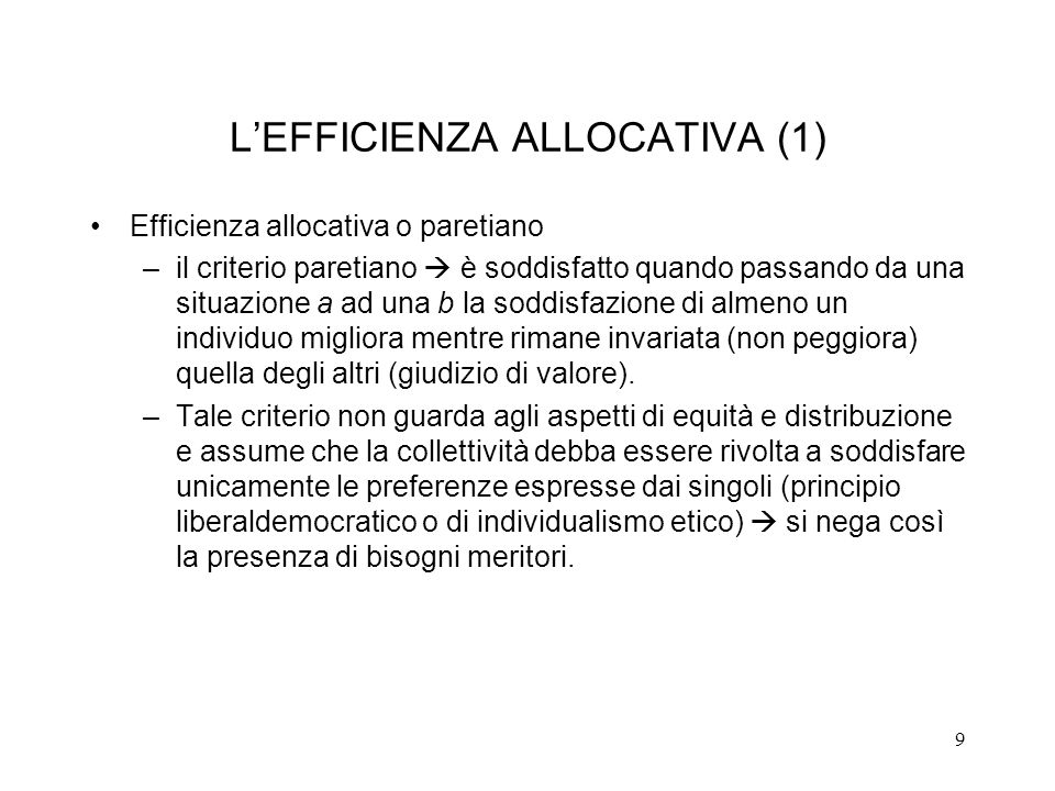 L'EFFICIENZA ALLOCATIVA (1)