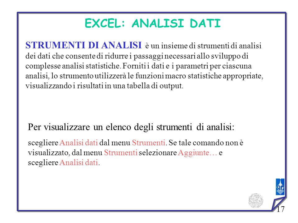 EXCEL: ANALISI DATI