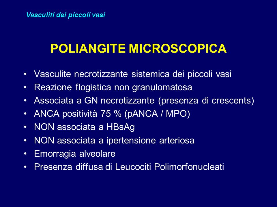 POLIANGITE MICROSCOPICA
