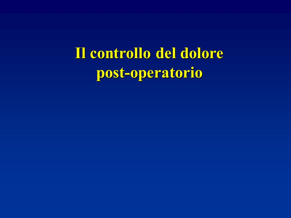 Il controllo del dolore post-operatorio