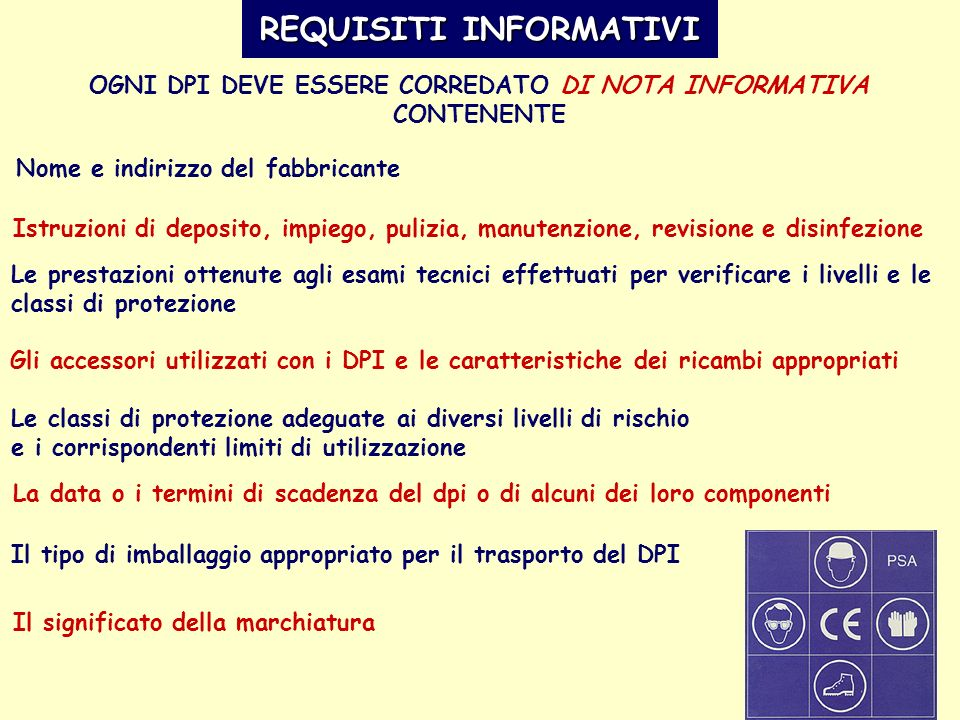 REQUISITI INFORMATIVI