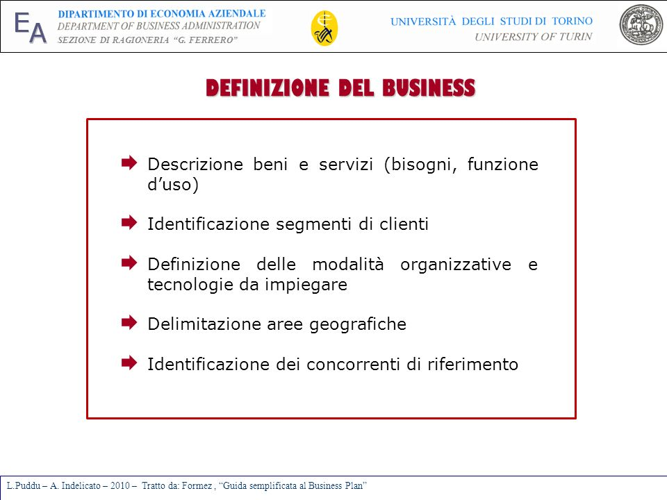 DEFINIZIONE DEL BUSINESS